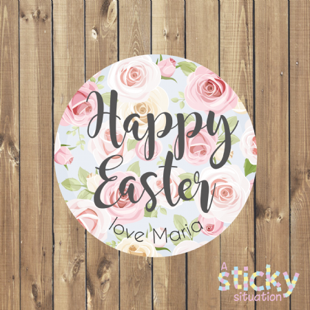 Personalised Easter Stickers - Floral Design